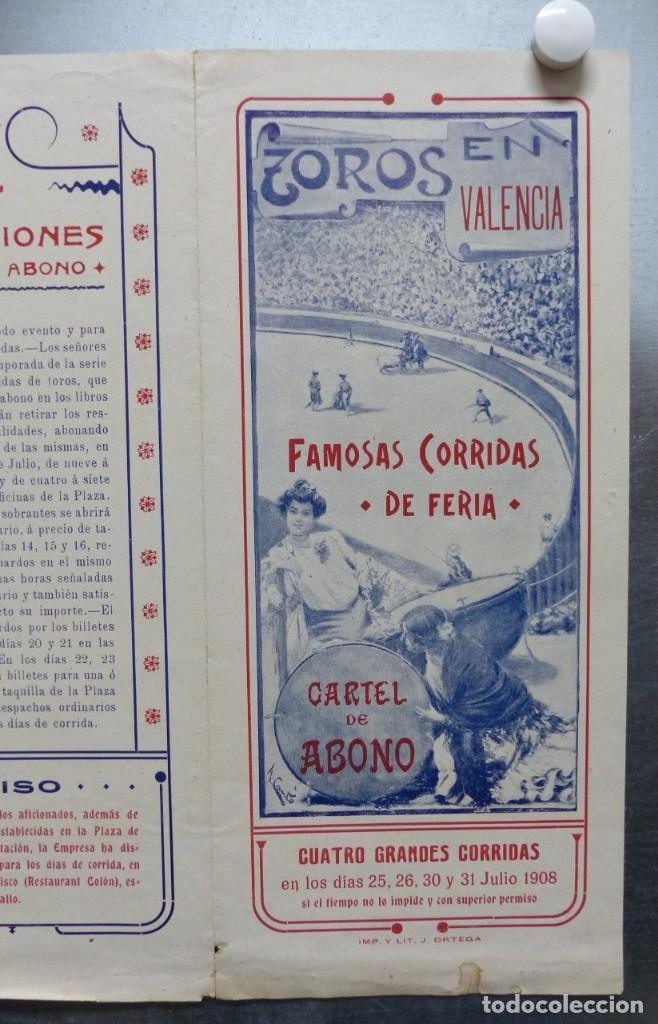 Carteles Toros: CARTEL DE ABONO TOROS VALENCIA - FERIA DE JULIO DE 1908, BOMBITA, MACHAQUITO, GALLO, LAGARTIJO - Foto 5 - 167826108
