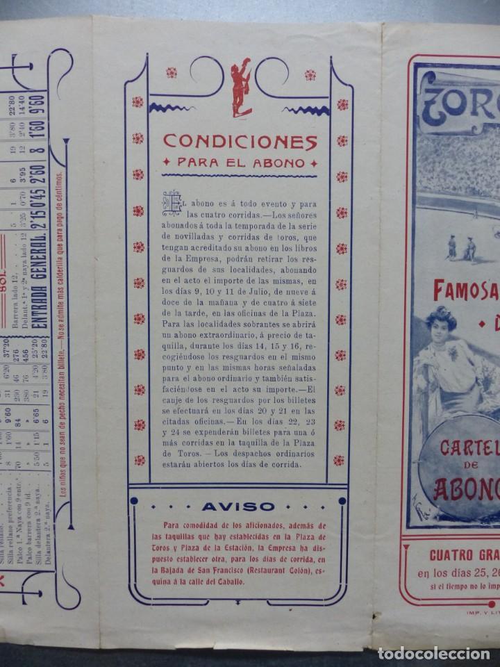 Carteles Toros: CARTEL DE ABONO TOROS VALENCIA - FERIA DE JULIO DE 1908, BOMBITA, MACHAQUITO, GALLO, LAGARTIJO - Foto 6 - 167826108