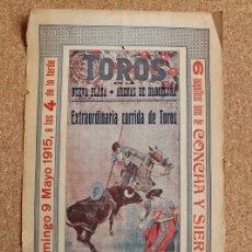 Carteles Toros: CARTEL DE TOROS DE ARENAS DE BARCELONA. 9 DE MAYO DE 1915. GALLO, MALLA Y GALLITO.. Lote 167942932