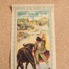 Carteles Toros: CARTEL DE TOROS DE ARENAS DE BARCELONA. 19 DE MARZO DE 1916. PASTOR, GALLITO Y BELMONTE. . Lote 167942952