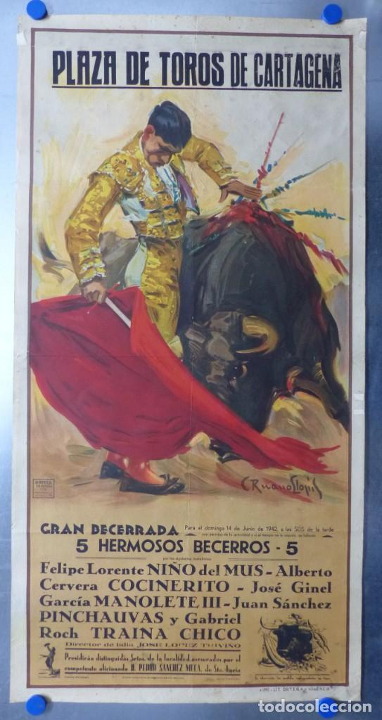 CARTEL TOROS CARTAGENA, MURCIA - 14 DE JUNIO DE 1942 - RUANO LLOPIS - LITOGRAFIA (Coleccionismo - Carteles Gran Formato - Carteles Toros)