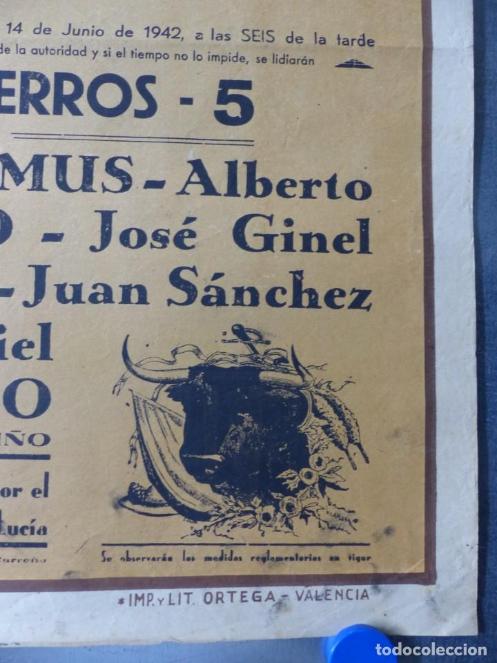 Carteles Toros: CARTEL TOROS CARTAGENA, MURCIA - 14 DE JUNIO DE 1942 - RUANO LLOPIS - LITOGRAFIA - Foto 2 - 168083340
