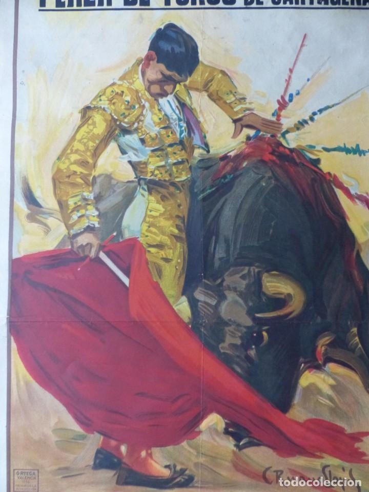Carteles Toros: CARTEL TOROS CARTAGENA, MURCIA - 14 DE JUNIO DE 1942 - RUANO LLOPIS - LITOGRAFIA - Foto 8 - 168083340
