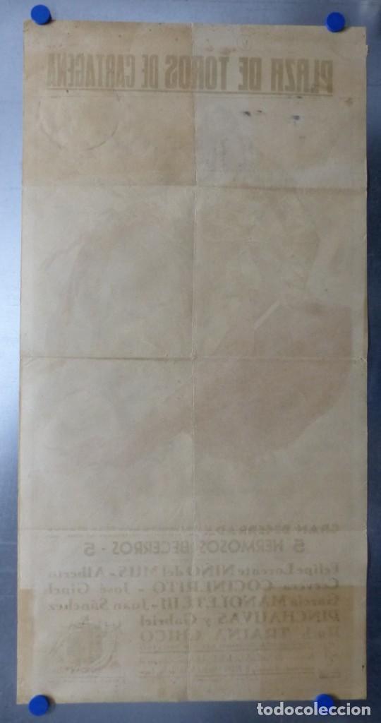 Carteles Toros: CARTEL TOROS CARTAGENA, MURCIA - 14 DE JUNIO DE 1942 - RUANO LLOPIS - LITOGRAFIA - Foto 10 - 168083340