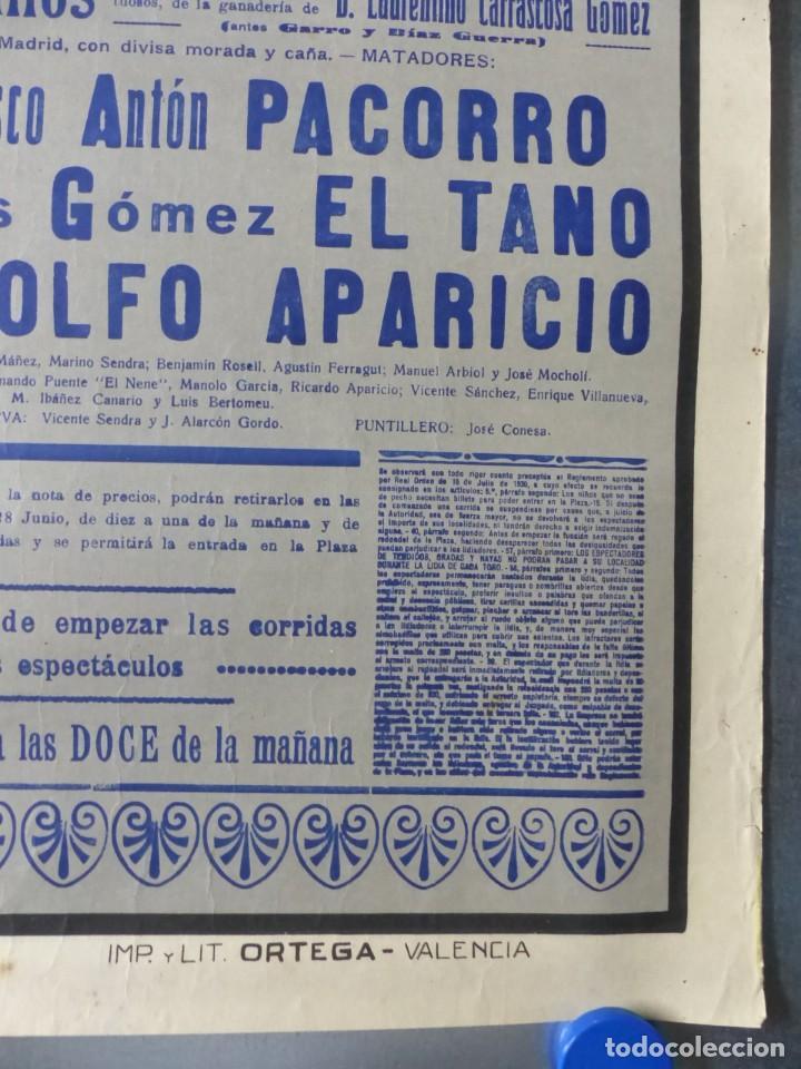 Carteles Toros: CARTEL DE TOROS DE VALENCIA, JUNIO DE 1957 - LITOGRAFIA - RUANO LLOPIS - Foto 3 - 168195436