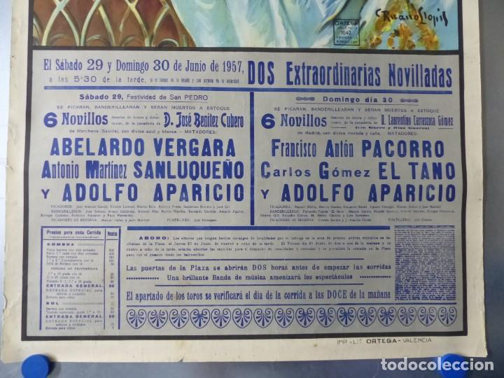 Carteles Toros: CARTEL DE TOROS DE VALENCIA, JUNIO DE 1957 - LITOGRAFIA - RUANO LLOPIS - Foto 6 - 168195436