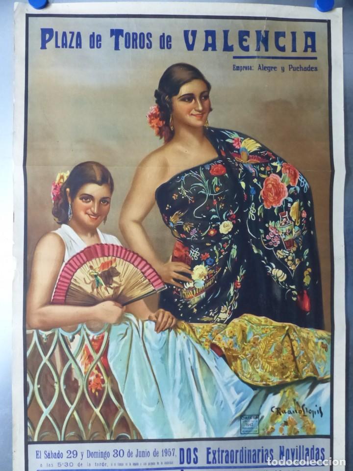 Carteles Toros: CARTEL DE TOROS DE VALENCIA, JUNIO DE 1957 - LITOGRAFIA - RUANO LLOPIS - Foto 7 - 168195436
