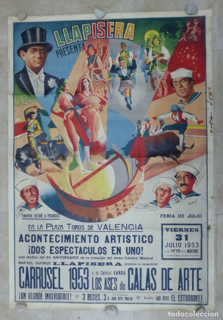 CARTEL TOROS - VALENCIA - AÑO 1953, LLAPISERA, CARTEL GRANDE 163X112 CM., DONAT, LITOGRAFIA (Coleccionismo - Carteles Gran Formato - Carteles Toros)