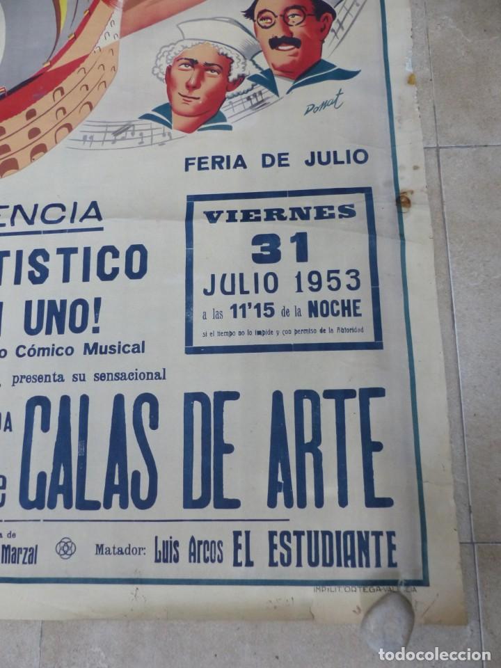 Carteles Toros: CARTEL TOROS - VALENCIA - AÑO 1953, LLAPISERA, CARTEL GRANDE 163X112 CM., DONAT, LITOGRAFIA - Foto 2 - 168216528