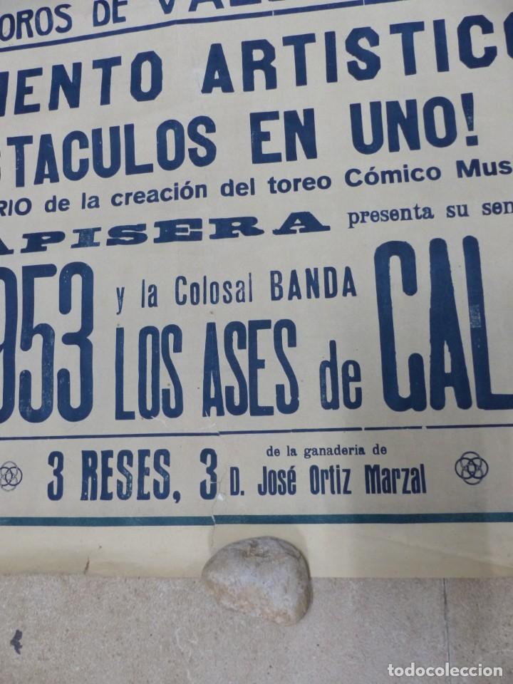 Carteles Toros: CARTEL TOROS - VALENCIA - AÑO 1953, LLAPISERA, CARTEL GRANDE 163X112 CM., DONAT, LITOGRAFIA - Foto 4 - 168216528