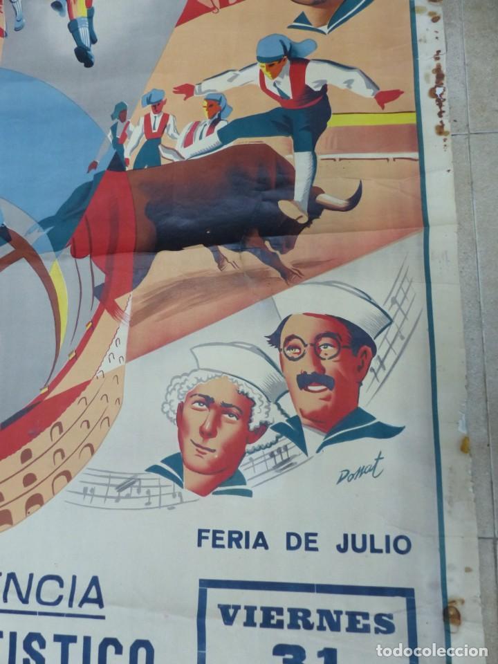 Carteles Toros: CARTEL TOROS - VALENCIA - AÑO 1953, LLAPISERA, CARTEL GRANDE 163X112 CM., DONAT, LITOGRAFIA - Foto 5 - 168216528