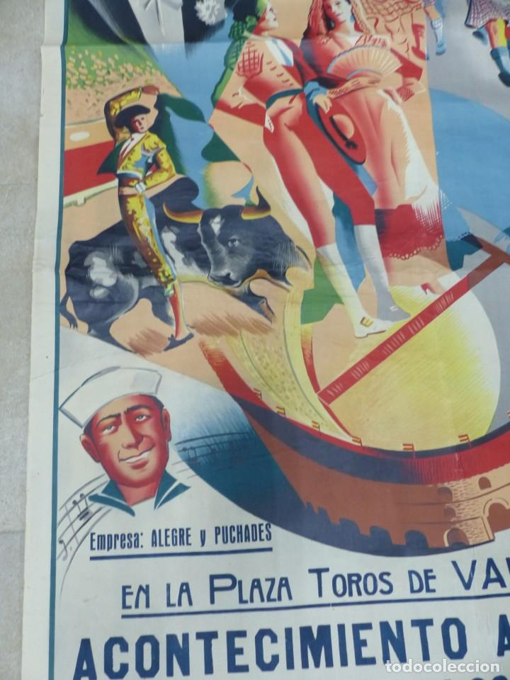 Carteles Toros: CARTEL TOROS - VALENCIA - AÑO 1953, LLAPISERA, CARTEL GRANDE 163X112 CM., DONAT, LITOGRAFIA - Foto 6 - 168216528