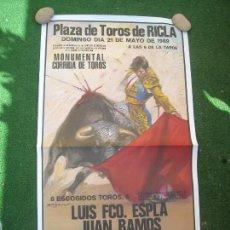 Carteles Toros: CARTEL MONUMENTAL CORRIDA PLAZA DE TOROS RICLA ZARAGOZA 1989 ESPLA JUAN RAMOS ZORITA 52 X 94. Lote 168251156