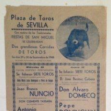 Carteles Toros: CARTEL DE TOROS SEVILLA 1948 FIESTAS SAN MIGUEL. Lote 169039982