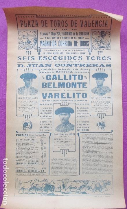 CARTEL TOROS, PLAZA VALENCIA, 1920, GALLITO, BELMONTE Y VARELITO, CT371 (Coleccionismo - Carteles Gran Formato - Carteles Toros)