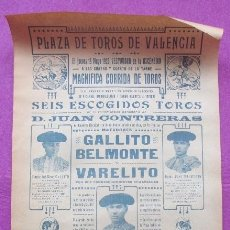 Carteles Toros: CARTEL TOROS, PLAZA VALENCIA, 1920, GALLITO, BELMONTE Y VARELITO, CT371. Lote 169305376