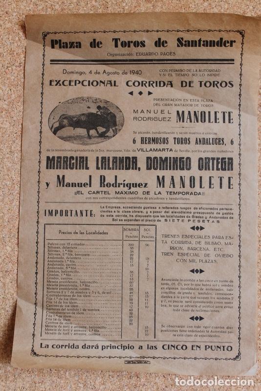 CARTEL DE TOROS DE SANTANDER. 4 DE AGOSTO DE 1940. PRESENTACIÓN EN SANTANDER DE MANOLETE (Coleccionismo - Carteles Gran Formato - Carteles Toros)