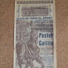 Carteles Toros: CARTEL DE TOROS DE BARCELONA. 10 DE MAYO DE 1914. VICENTE PASTOR Y JOSÉ GÓMEZ GALLITO.. Lote 169636276