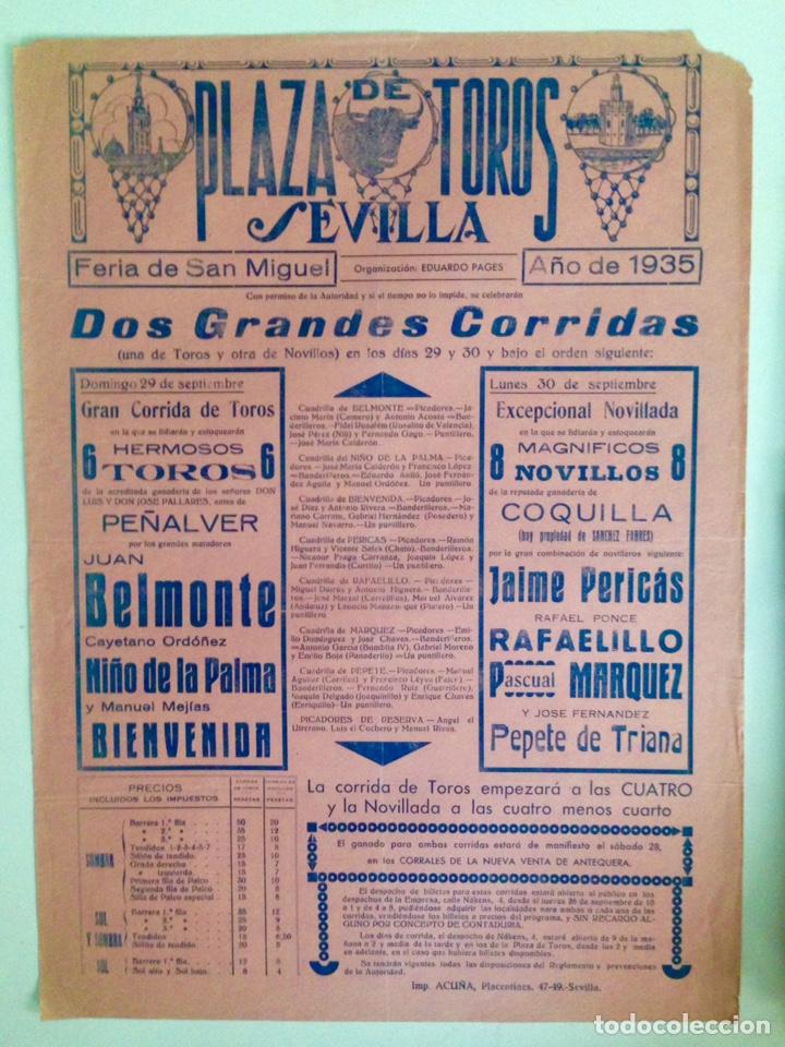 CARTEL HISTÓRICO DESPEDIDA DE JUAN BELMONTE SEVILLA ÚLTIMA ACTUACIÓN DE LUCES (Coleccionismo - Carteles Gran Formato - Carteles Toros)