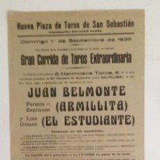 Carteles Toros: CARTEL 1935 SAN SEBASTIÁN JUAN BELMONTE ÚLTIMA ACTUACIÓN DE LUCES EN ESTA CIUDAD.. Lote 169641138