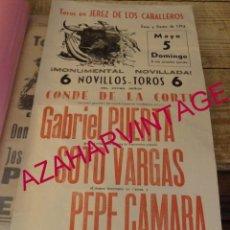 Carteles Toros: JEREZ DE LOS CABALLEROS, 1974, CARTEL CORRIDA DE TOROS, GABRIEL PUERTA,SOTO VARGAS Y PEPE CAMARA. Lote 169883228