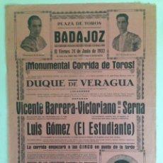 Carteles Toros: CARTEL TAURINO BADAJOZ 1932. Lote 169886700