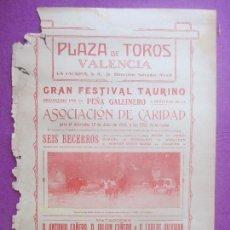 Carteles Toros: CARTEL TOROS, PLAZA VALENCIA, 1916, GALLO, GALLITO, FLORES, SALERI, CT406. Lote 170056912