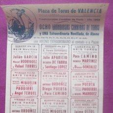 Carteles Toros: CARTEL TOROS, PLAZA VALENCIA, 1969, JULIO APARICIO, PACO CAMINO, PAQUIRRI, CT448. Lote 170520832