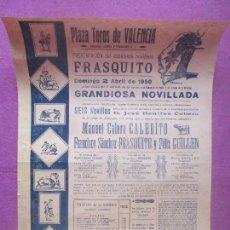 Carteles Toros: CARTEL TOROS, PLAZA VALENCIA, 1950, CALERITO, FRASQUITO, FELIX GUILLEN, CT453. Lote 170521648