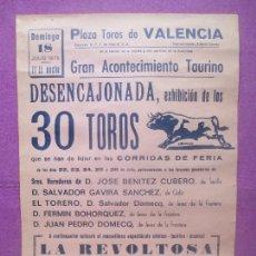 Carteles Toros: CARTEL TOROS, PLAZA VALENCIA, 1976, EXHIBICION TOROS FERIA, ESPECTACULO COMICO, CT464. Lote 170522808