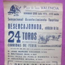Carteles Toros: CARTEL TOROS, PLAZA VALENCIA, 1976, EXHIBICION TOROS FERIA, CT465. Lote 170810800