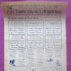 Carteles Toros: CARTEL TOROS, PLAZA VALENCIA, 1952, ANTONIO ORDOÑEZ, JULIO APARICIO, LITRI, CT467. Lote 170812510