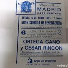 Carteles Toros: PEQUEÑO CÁRTEL DE LA PLAZA DE TOROS DE MADRID DEL AÑO 1991. Lote 171066464