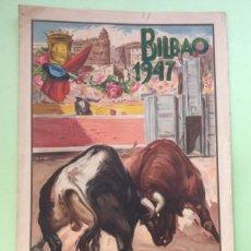Carteles Toros: CARTEL DE TOROS BILBAO 1947 - 45 X 24 CM. Lote 171501568