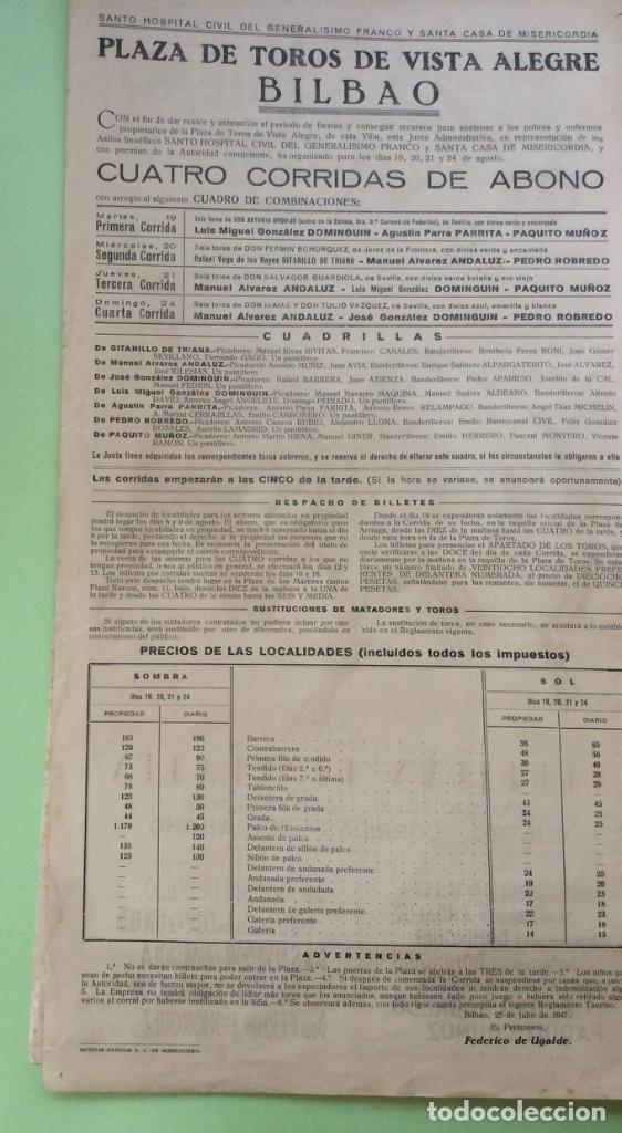 Carteles Toros: Cartel de Toros Bilbao 1947 - 45 x 24 cm - Foto 2 - 171501568
