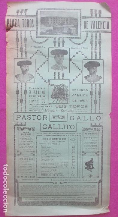 CARTEL TOROS, PLAZA VALENCIA, 1916, PASTOR, GALLITO, GALLO, CT473 (Coleccionismo - Carteles Gran Formato - Carteles Toros)