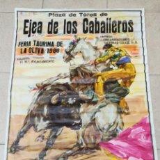Carteles Toros: GRAN CARTEL DE TOROS J.REUS AÑO 1988 EJEA DE LOS CABALLEROS 108×79CM. Lote 171643147