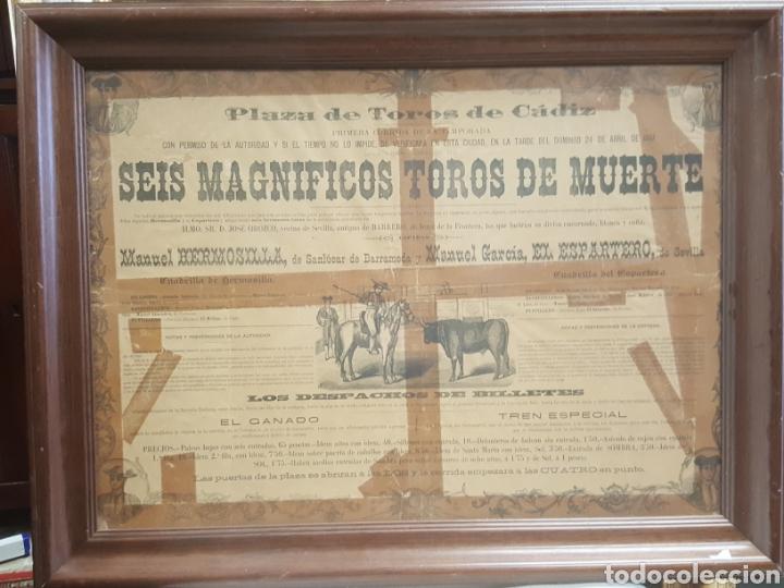 CARTEL PLAZA DE TOROS DE CÁDIZ. 1887. EL ESPARTERO Y MANUEL HERMOSILLA. (Coleccionismo - Carteles Gran Formato - Carteles Toros)