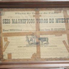 Carteles Toros: CARTEL PLAZA DE TOROS DE CÁDIZ. 1887. EL ESPARTERO Y MANUEL HERMOSILLA.. Lote 171999360