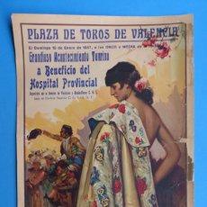Carteles Toros: CARTEL TOROS - VALENCIA - ENERO DE 1937 - RUANO LLOPIS. Lote 172170740