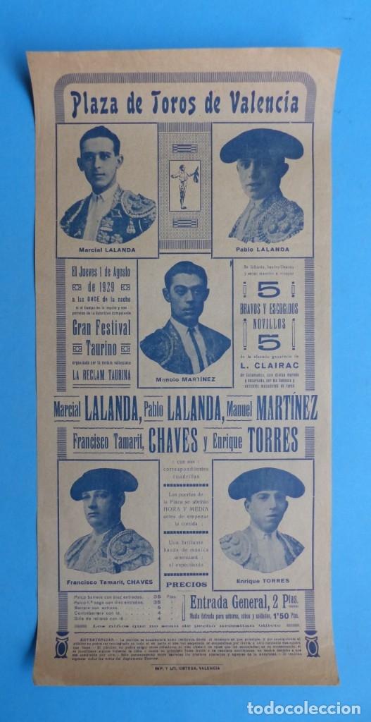 CARTEL TOROS - VALENCIA - AGOSTO DE 1929 - LALANDA, MARTINEZ, CHAVES Y TORRES (Coleccionismo - Carteles Gran Formato - Carteles Toros)