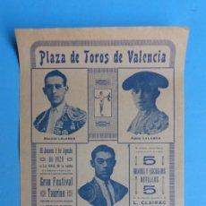 Carteles Toros: CARTEL TOROS - VALENCIA - AGOSTO DE 1929 - LALANDA, MARTINEZ, CHAVES Y TORRES. Lote 172171004