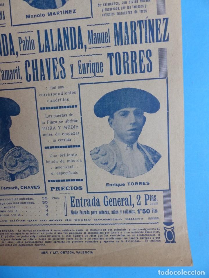 Carteles Toros: CARTEL TOROS - VALENCIA - AGOSTO DE 1929 - LALANDA, MARTINEZ, CHAVES Y TORRES - Foto 2 - 172171004