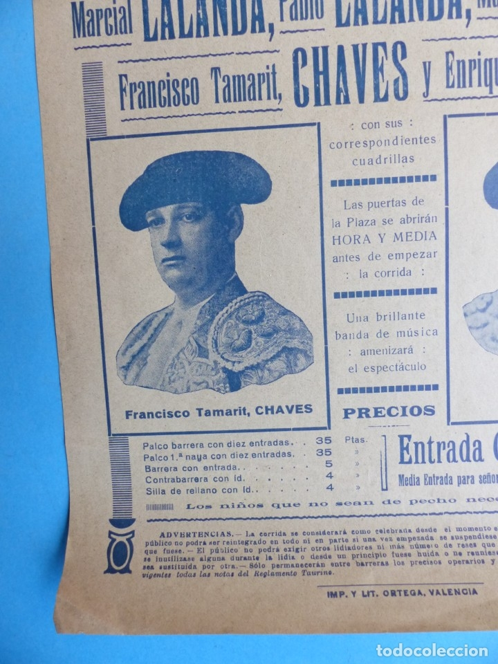 Carteles Toros: CARTEL TOROS - VALENCIA - AGOSTO DE 1929 - LALANDA, MARTINEZ, CHAVES Y TORRES - Foto 3 - 172171004