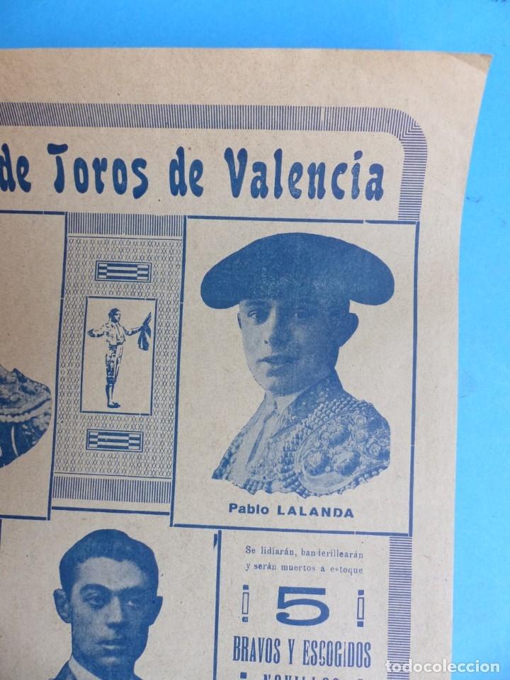 Carteles Toros: CARTEL TOROS - VALENCIA - AGOSTO DE 1929 - LALANDA, MARTINEZ, CHAVES Y TORRES - Foto 4 - 172171004