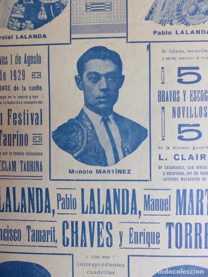 Carteles Toros: CARTEL TOROS - VALENCIA - AGOSTO DE 1929 - LALANDA, MARTINEZ, CHAVES Y TORRES - Foto 6 - 172171004