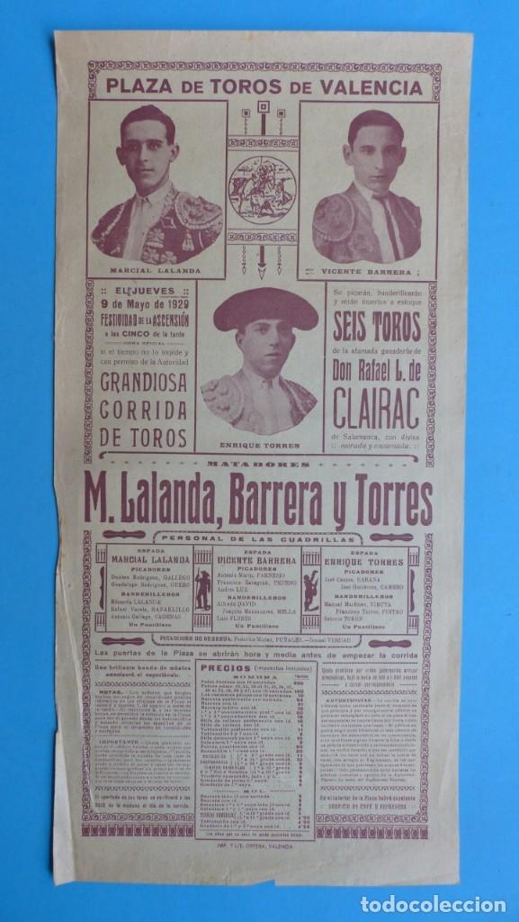 CARTEL TOROS - VALENCIA - MAYO DE 1929 - MARCIAL LALANDA, VICENTE BARRERA Y ENRIQUE TORRES (Coleccionismo - Carteles Gran Formato - Carteles Toros)