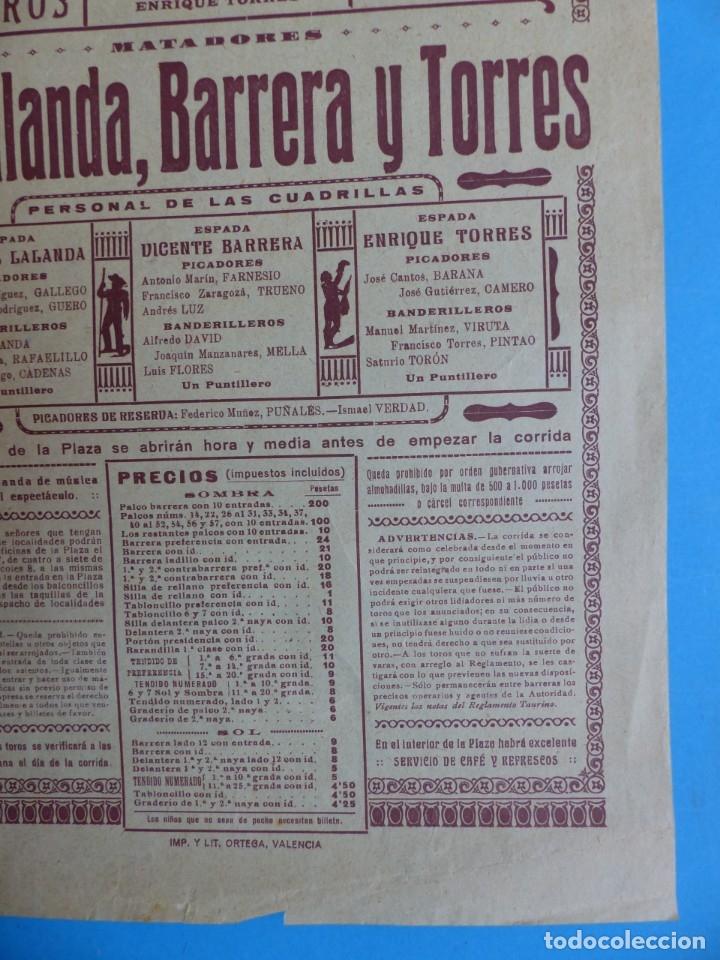 Carteles Toros: CARTEL TOROS - VALENCIA - MAYO DE 1929 - MARCIAL LALANDA, VICENTE BARRERA Y ENRIQUE TORRES - Foto 2 - 172171354