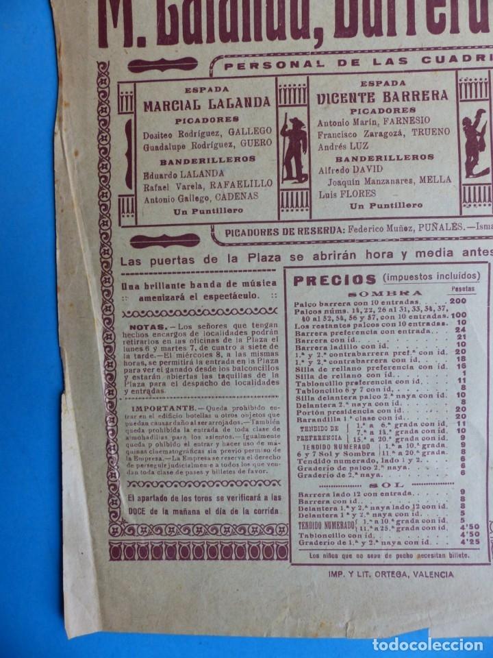 Carteles Toros: CARTEL TOROS - VALENCIA - MAYO DE 1929 - MARCIAL LALANDA, VICENTE BARRERA Y ENRIQUE TORRES - Foto 3 - 172171354