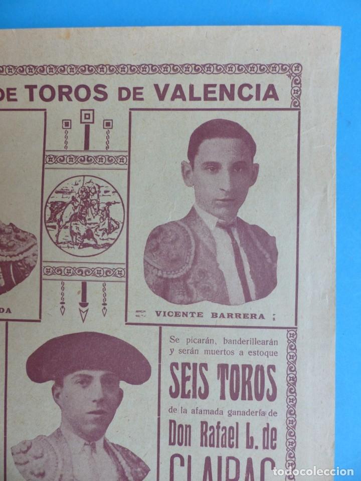Carteles Toros: CARTEL TOROS - VALENCIA - MAYO DE 1929 - MARCIAL LALANDA, VICENTE BARRERA Y ENRIQUE TORRES - Foto 4 - 172171354